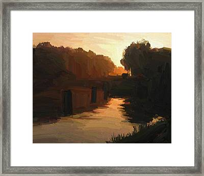Framed Print featuring the painting Wilhelmina Canal In Autumn Morning Light by Nop Briex