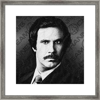 Will Ferrell Anchorman The Legend Of Ron Burgundy Drawing Framed Print by Tony Rubino