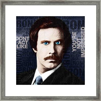 Will Ferrell Anchorman The Legend Of Ron Burgundy Words Color Framed Print by Tony Rubino