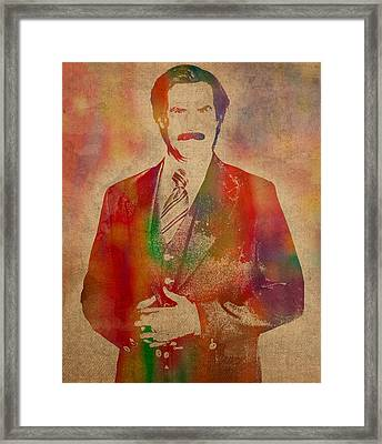 Will Ferrell As Ron Burgundy In Anchorman Movie Watercolor Portrait On Worn Distressed Canvas Framed Print