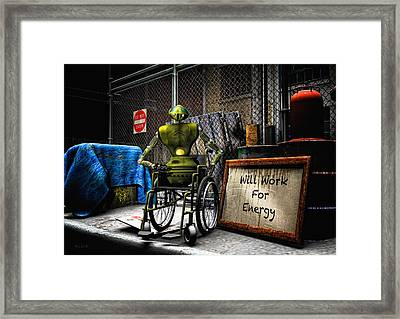 Will Work For Energy Framed Print by Bob Orsillo