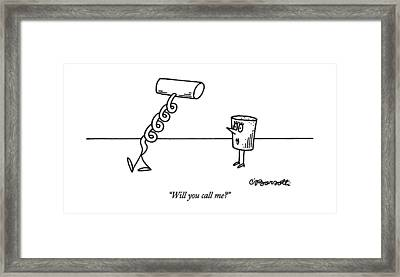 Will You Call Me? Framed Print by Charles Barsotti