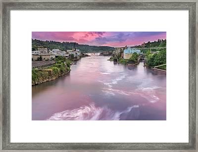 Willamette Falls During Sunset Framed Print by David Gn