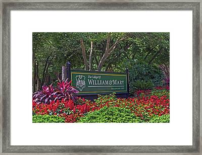 William And Mary Welcome Sign Framed Print
