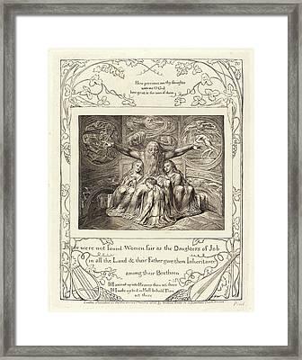 William Blake, British 1757-1827, Job And His Daughters Framed Print