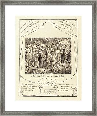 William Blake, British 1757-1827, Job And His Wife Restored Framed Print