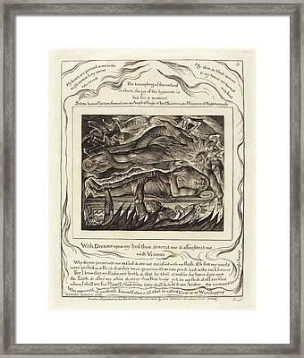 William Blake, British 1757-1827, Jobs Evil Dreams Framed Print
