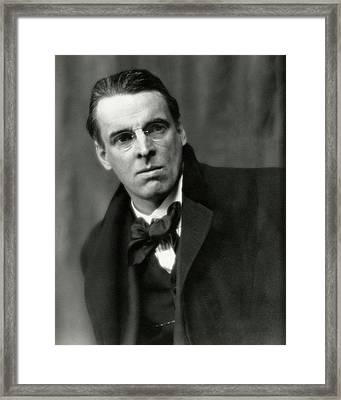 William Butler Yeats Wearing A Bowtie Framed Print by Arnold Genthe