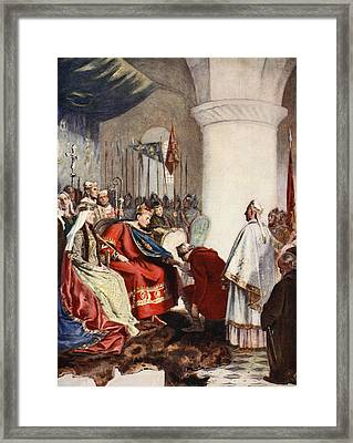William Granting A Charter To The City Framed Print by John Seymour Lucas