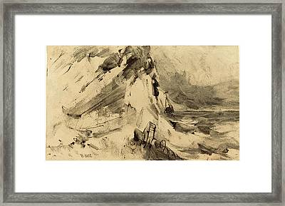 William Hart American, 1823 - 1894, Shipwreck In Storm Framed Print by Quint Lox