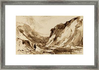 William Hart, Deep Valley In Mountainous Landscape Framed Print by Quint Lox