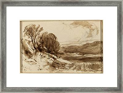 William Hart, Hilly Landscape With Trees Framed Print by Quint Lox