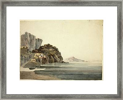 William Pars, British 1742-1782, An Italian Coast Scene Framed Print by Litz Collection