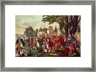 William Penn's Treaty With The Indians Framed Print by Currier and Ives