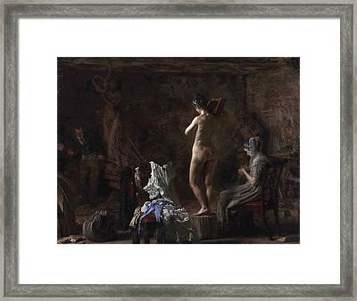 William Rush Carving His Allegorical Figure Of The Schuylkill River Framed Print by Thomas Eakins