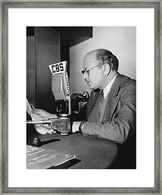 William Shirer At Cbs Framed Print by Underwood Archives