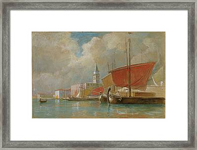 William Stanley Haseltine, Shipping Along The Molo In Venice Framed Print by Quint Lox