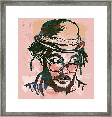 Will.i.am - Stylised Etching Pop Art Poster Framed Print by Kim Wang