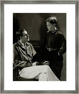 William Tilden With A Young Boy Framed Print