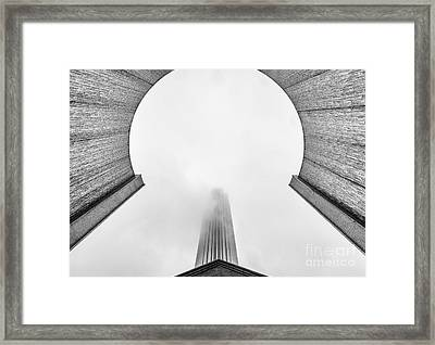 Williams Tower Through The Fog At The Water Wall  Framed Print by Dee Zunker