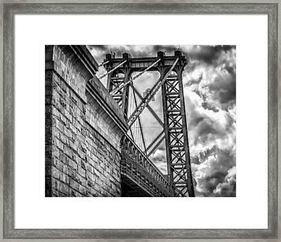 Framed Print featuring the photograph Williamsburg Bridge From Brooklyn New York by Linda Karlin