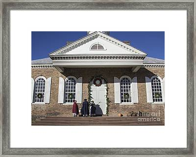Williamsburg Courthouse At Christmas Framed Print