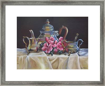 Framed Print featuring the painting Williamsburg Stieff Tea Set by Phyllis Beiser