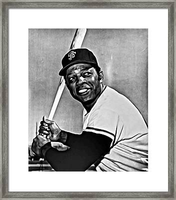 Willie Mays Painting Framed Print