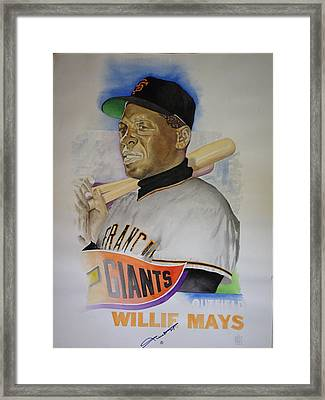 Willie Mays Framed Print by Robert  Myers