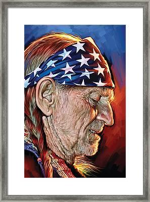 Willie Nelson Artwork Framed Print