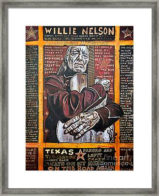 Willie Nelson Framed Print by Bob Hislop