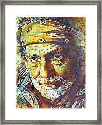 Willie Nelson-funny How Time Slips Away Framed Print by Joshua Morton