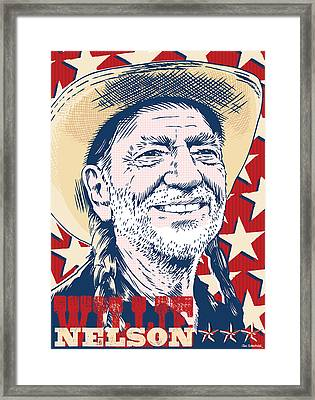 Willie Nelson Pop Art Framed Print by Jim Zahniser