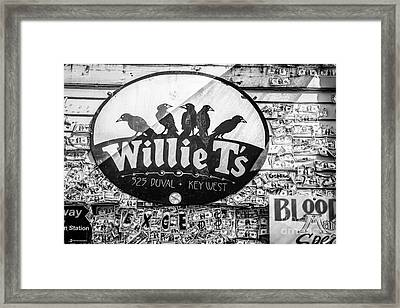 Willie T's Bar And Dollar Bills Key West - Black And White Framed Print by Ian Monk
