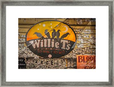 Willie T's Bar And Dollar Bills Key West - Hdr Style Framed Print by Ian Monk