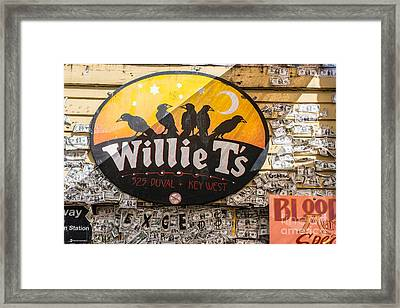 Willie T's Bar And Dollar Bills Key West  Framed Print