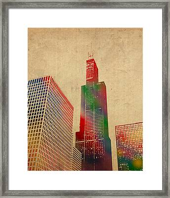 Willis Sears Tower Chicago Illinois Watercolor On Worn Canvas Series Framed Print