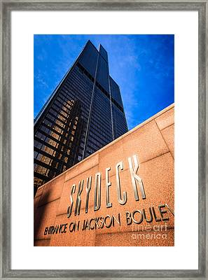 Willis-sears Tower Skydeck Sign Framed Print by Paul Velgos