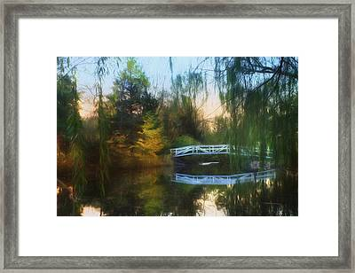 Willow Bridge Framed Print by Lori Deiter