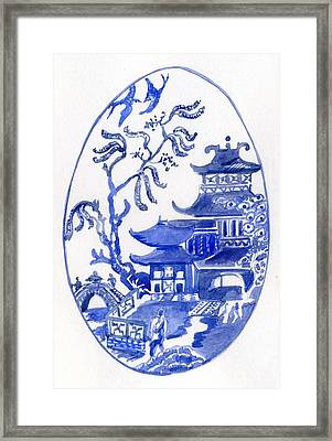 Willow Pattern Egg I Framed Print