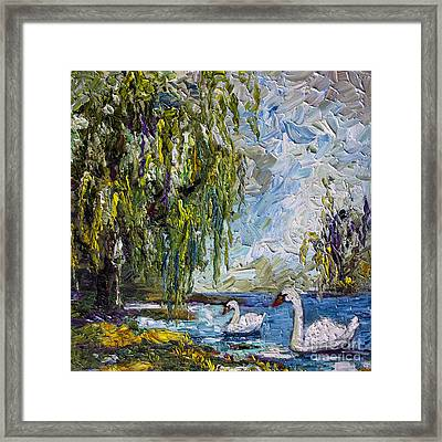 Willow Tree And Swan Lake Oil Painting Framed Print by Ginette Callaway