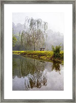 Willow Tree At The Pond Framed Print by Debra and Dave Vanderlaan