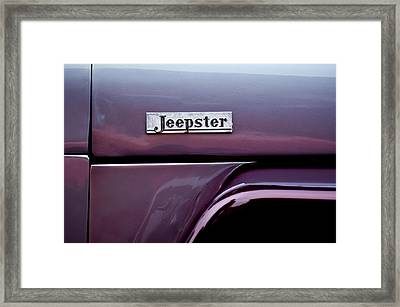 Willys Jeepster Side Emblem Framed Print by Jill Reger