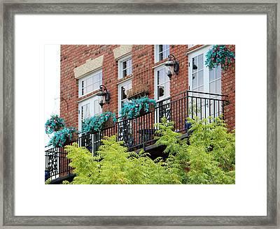 Blue Flowers On A Balcony  Framed Print