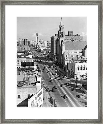 Wilshire Boulevard In La Framed Print by Underwood Archives