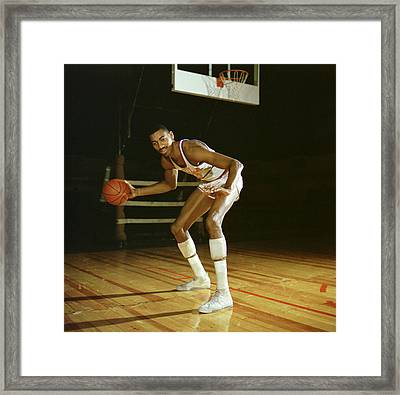 Wilt Chamberlain Dribbling Framed Print by Retro Images Archive