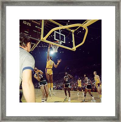 Wilt Chamberlain Dunks Framed Print by Retro Images Archive