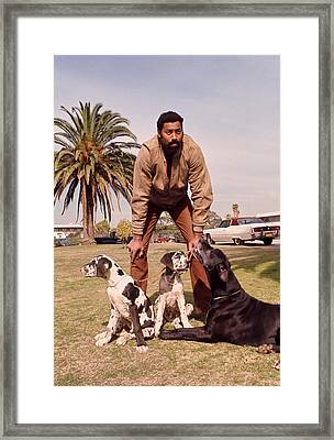 Wilt Chamberlain With Dogs Framed Print by Retro Images Archive