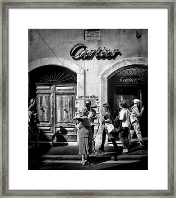 Win Lotto Buy Cartier Framed Print by Karen Lindale