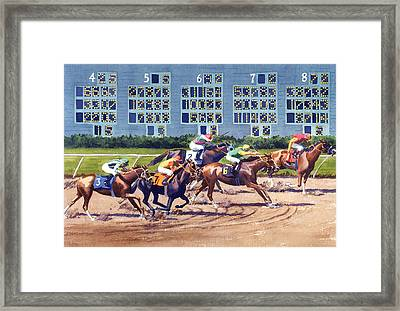 Win Place Show At Del Mar Framed Print by Mary Helmreich